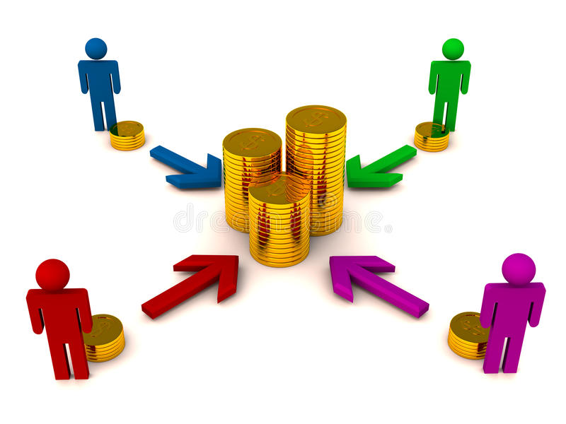 Funding concept. Crowd funding or individual shareholder funding concept, 3d render showing people figures accumulating cash in form of gold coins to group a royalty free illustration