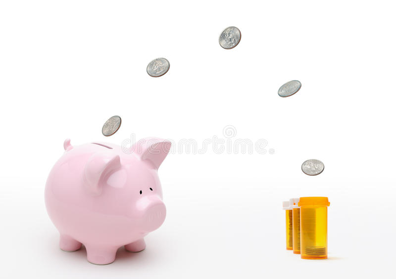 Funding Healthcare Reform. Funding healtcare reform. Coins flying from piggy bank to fill pill bottles. Paying for universal health care, medical insurance royalty free stock photography