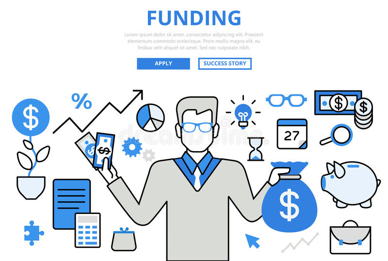 Funding investor financial concept flat line art vector icons royalty free illustration