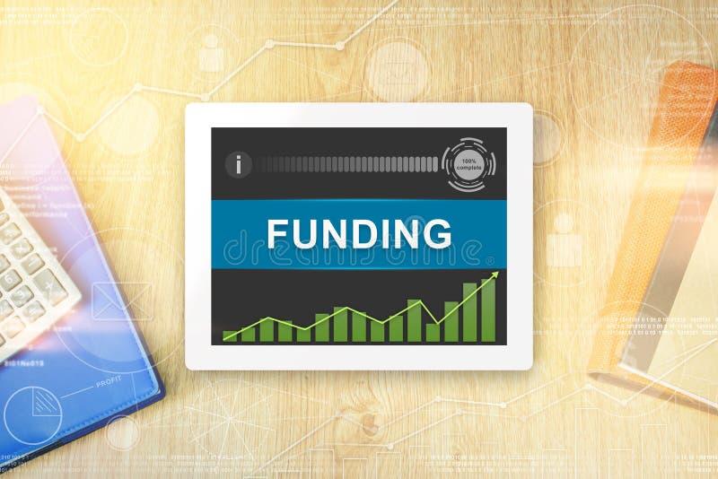 Funding word on tablet vector illustration