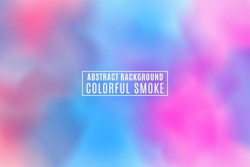 Fundo à moda moderno do sumário Fumo realístico colorido Névoa roxa azul Holi Festival indiano das cores Textura colorida ilustração royalty free