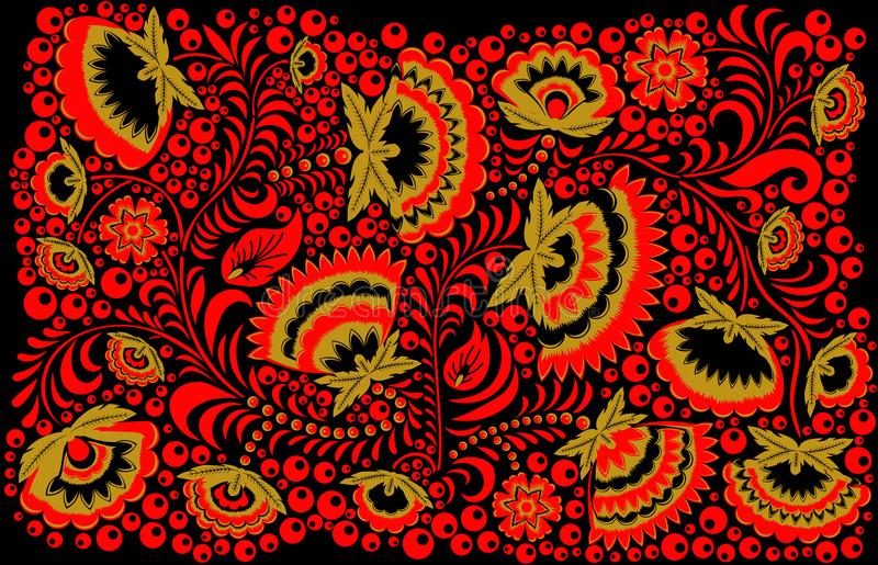Fundo étnico do estilo do hohloma do russo ilustração do vetor