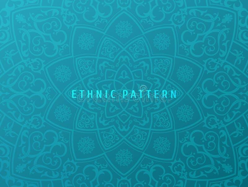 Fundo étnico do vetor Projeto da mandala do teste padrão do vintage para convites, cartões Floral oriental Ornamento oriental den ilustração stock