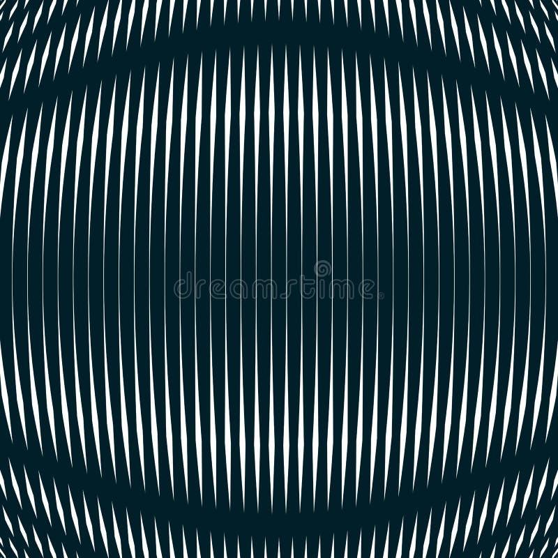 Fundo ótico com linhas geométricas monocromáticas moire ilustração do vetor