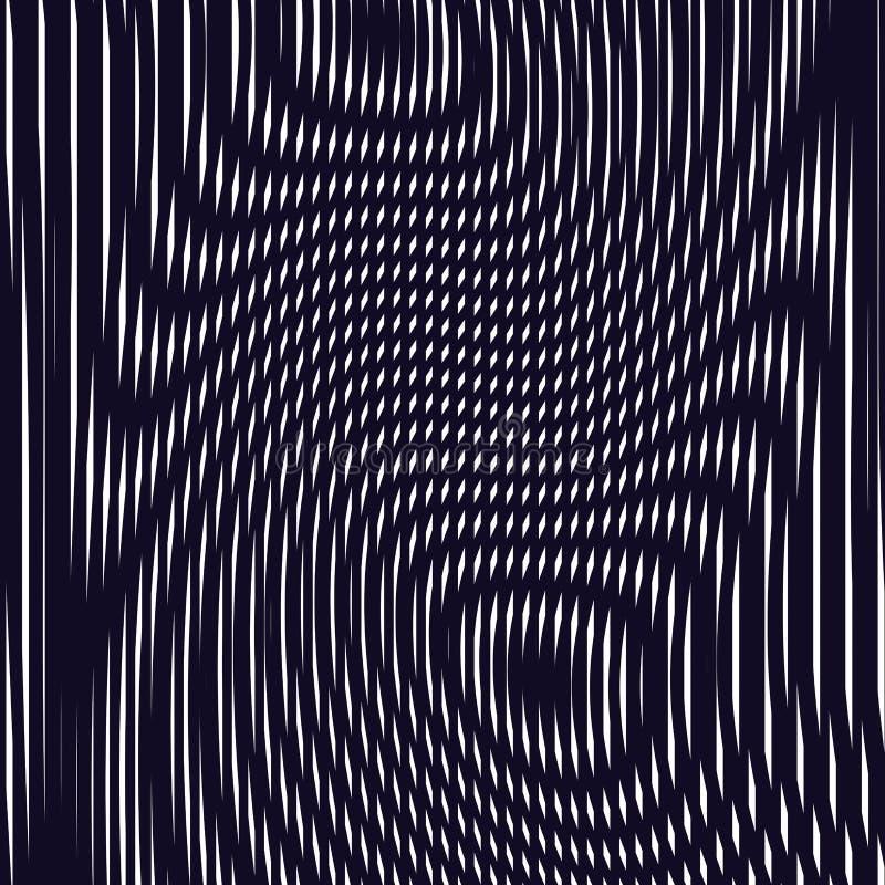 Fundo ótico com linhas geométricas monocromáticas Teste padrão do ondeamento ilustração do vetor