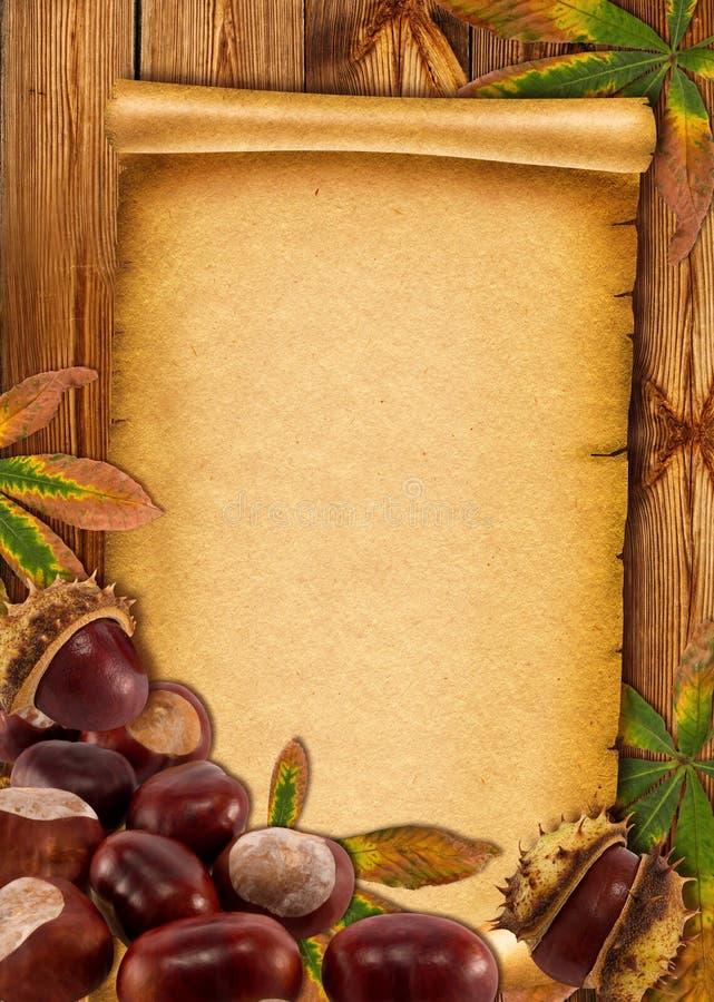 fundo 0ld de papel com castanhas do outono imagens de stock