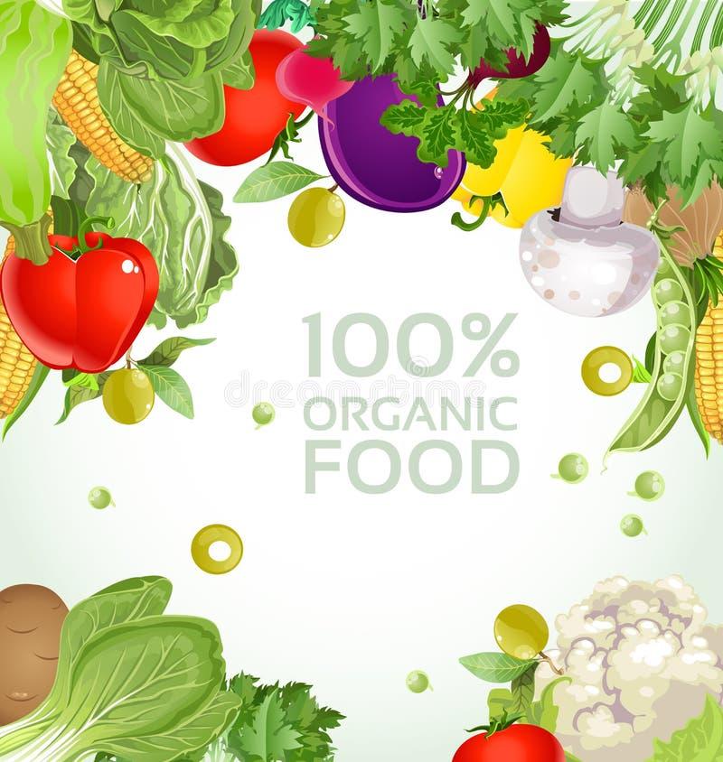 Fundo 100% do alimento biológico do vegetariano ilustração do vetor