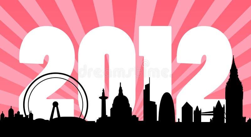 Fundo 2012 da skyline de Londres ilustração do vetor