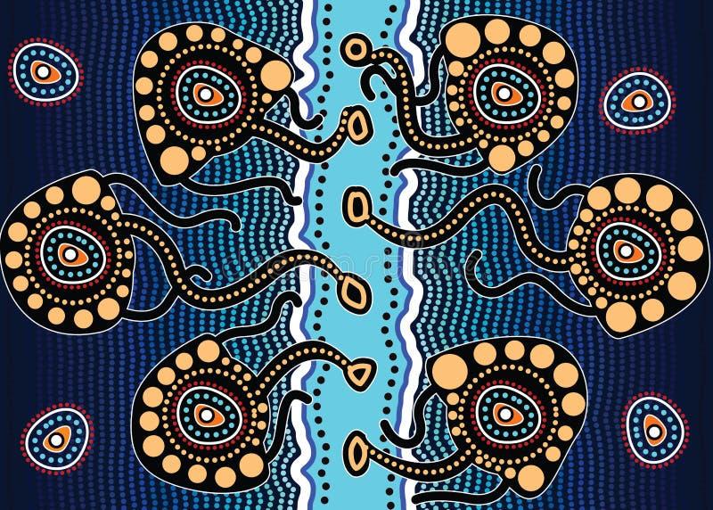 Fundo aborígene do vetor da arte que descreve medusa ilustração stock