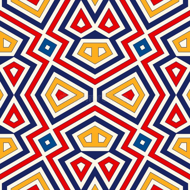 Fundo abstrato étnico brilhante Teste padrão sem emenda com o ornamento geométrico simétrico ilustração royalty free