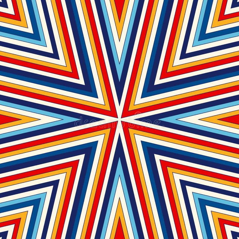 Fundo abstrato étnico brilhante Teste padrão sem emenda com o ornamento geométrico simétrico ilustração do vetor