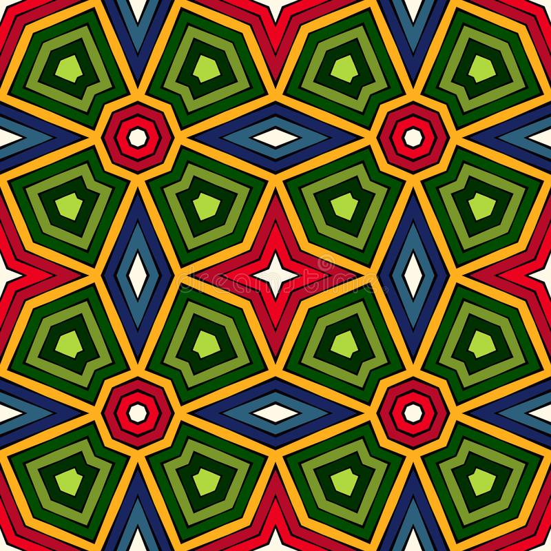 Fundo abstrato étnico brilhante Teste padrão sem emenda do caleidoscópio com o ornamento decorativo no estilo africano ilustração royalty free