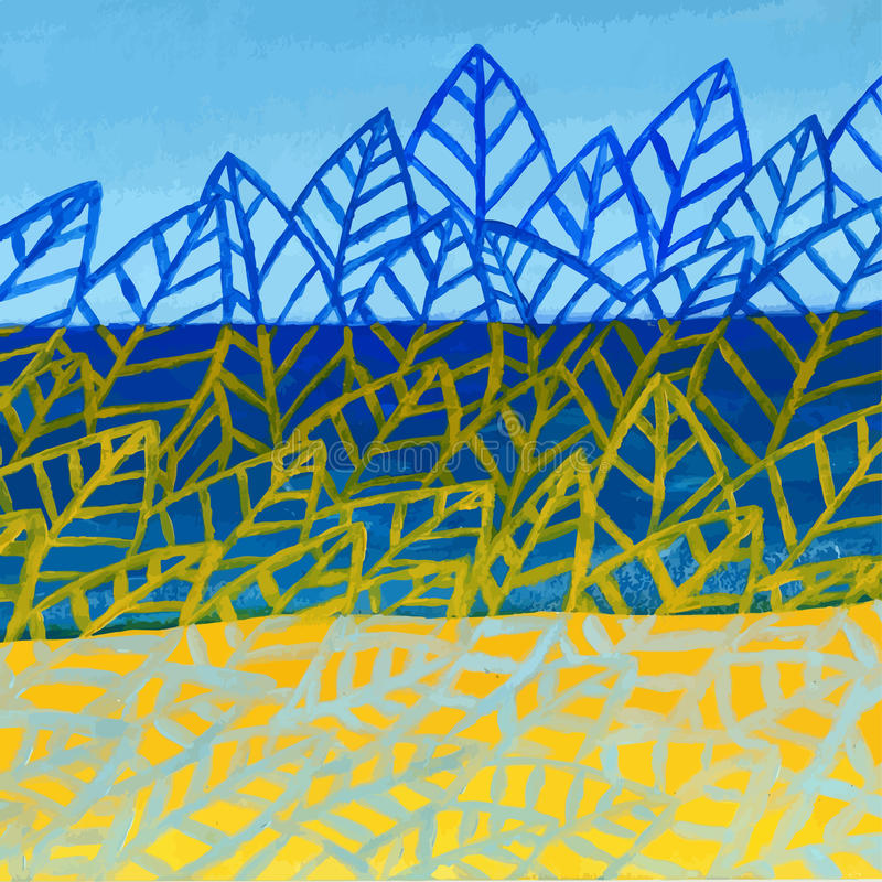 Fundo abstrato acrílico do vetor da natureza do verão Teste padrão das folhas ilustração do vetor