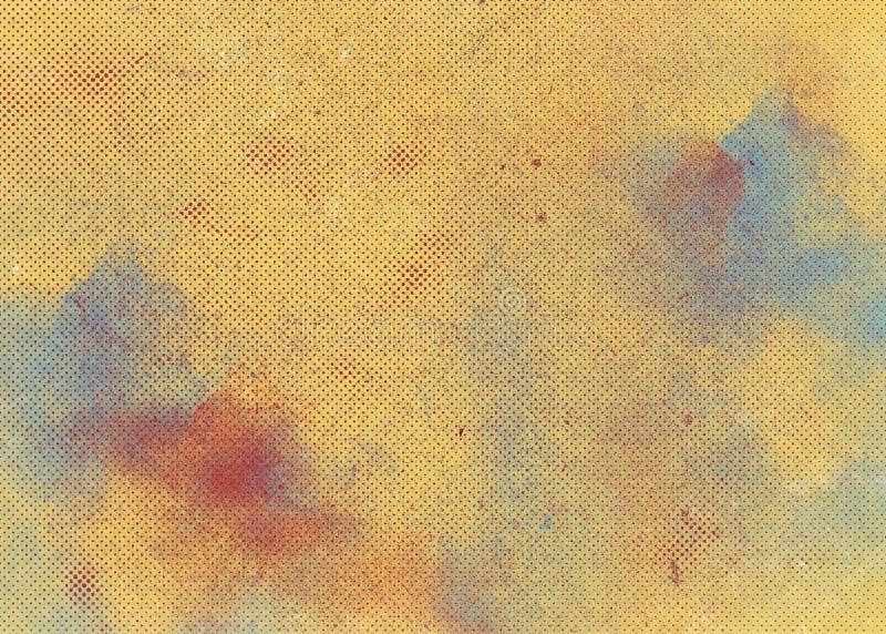 Fundo abstrato alaranjado amarelo colorido do inclinação com pontos e manchas da pintura Textura retro imagem de stock royalty free