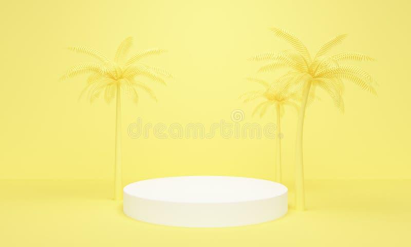 Fundo abstrato amarelo geométrico com palmeiras e plataforma branca rendi??o 3d ilustração royalty free
