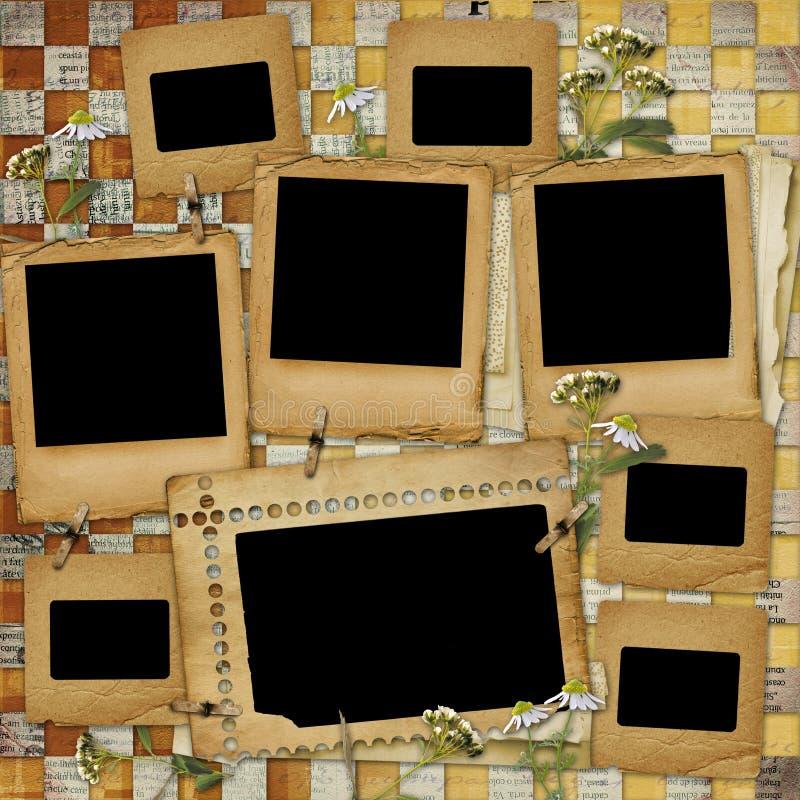 Fundo abstrato antigo com frame imagem de stock