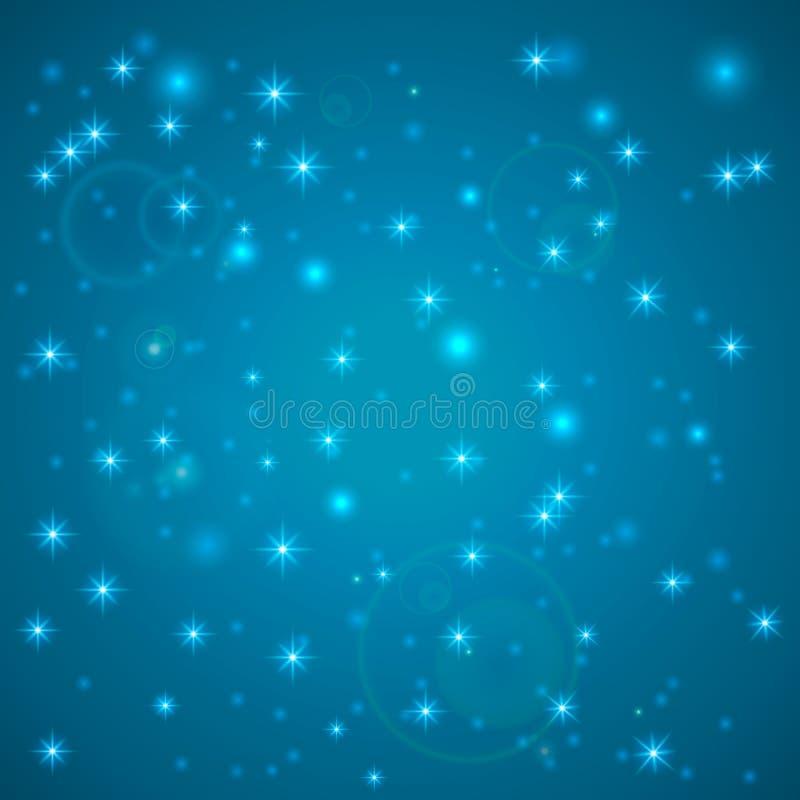 Fundo abstrato azul Céu noturno com estrelas Ilustração do vetor Neve de queda Fundo branco abstrato do floco de neve do brilho M ilustração do vetor