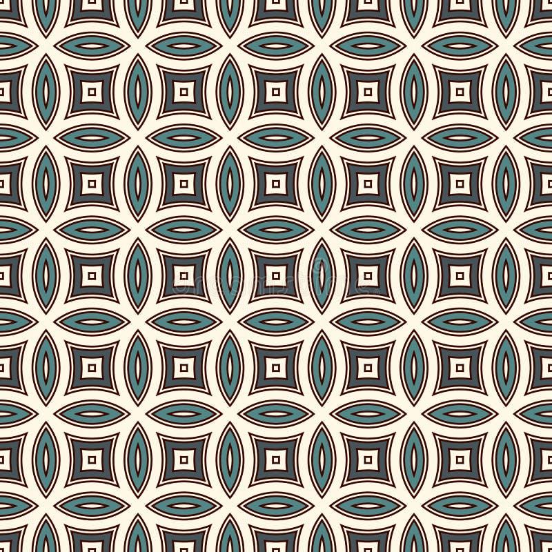 Fundo abstrato azul com círculos de sobreposição Motivo das pétalas Teste padrão sem emenda com o ornamento geométrico clássico ilustração stock