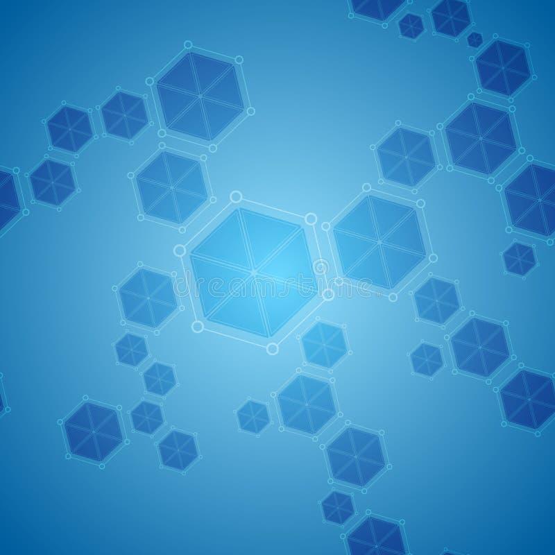 Fundo abstrato azul da tecnologia das moléculas do hexágono ilustração do vetor