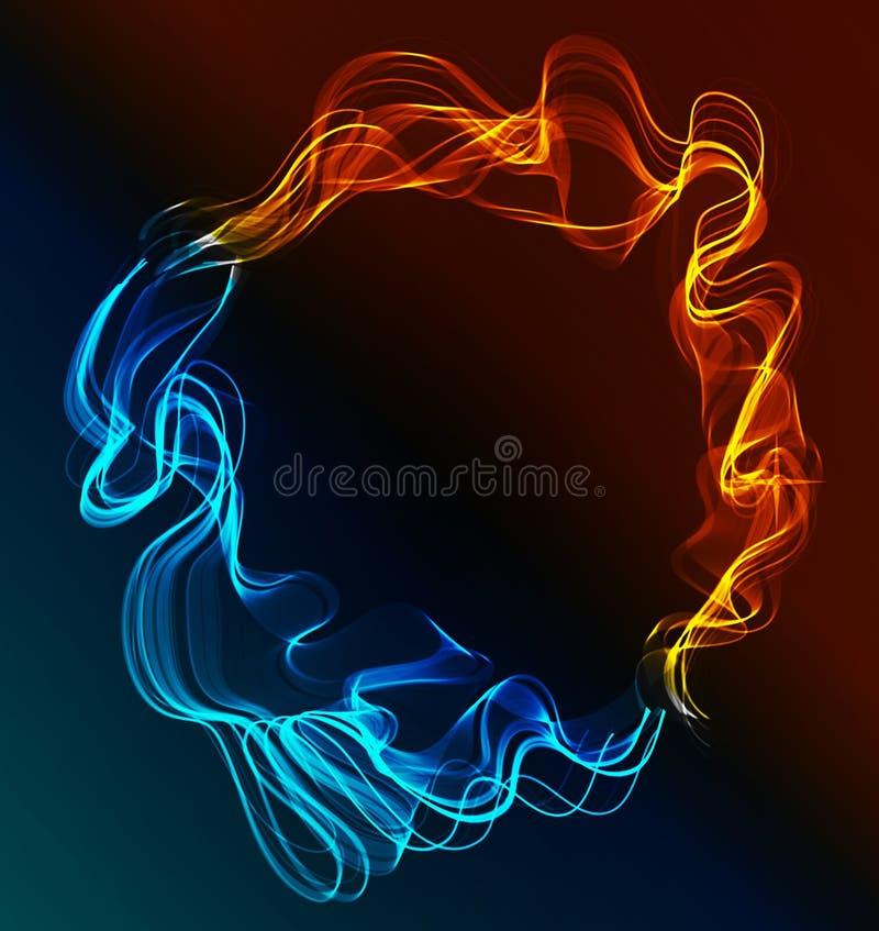 Fundo abstrato azul e vermelho, gelo e incêndio ilustração royalty free