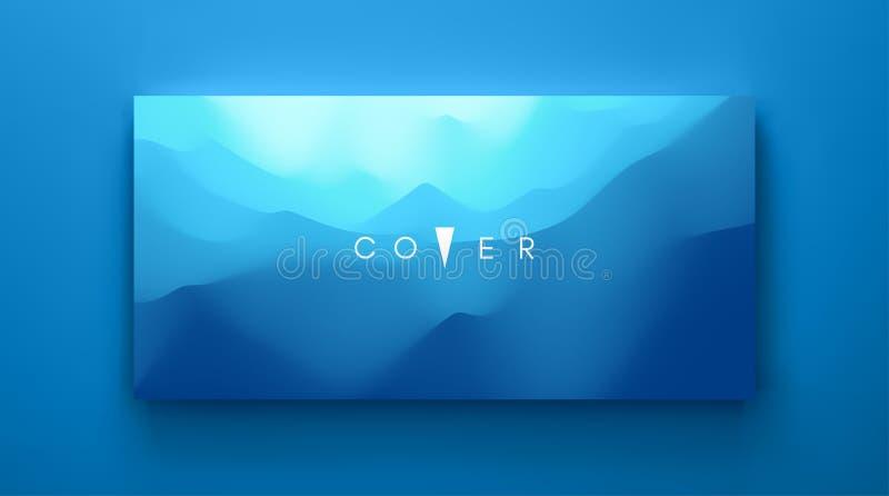 Fundo abstrato azul Paisagem realística com ondas Molde do projeto da tampa ilustra??o do vetor 3d ilustração do vetor