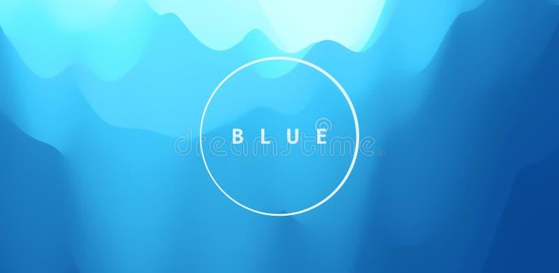 Fundo abstrato azul Paisagem realística com ondas Molde do projeto da tampa ilustra??o do vetor 3d ilustração royalty free