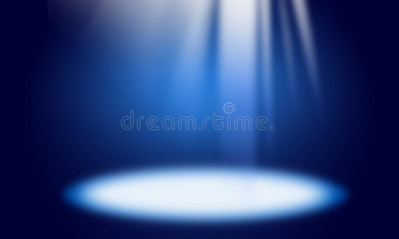 Fundo abstrato azul, raios claros, efeito da luz, ponto claro, lugar para o texto, cena luminosa, feriado, partido, branco, azul ilustração do vetor