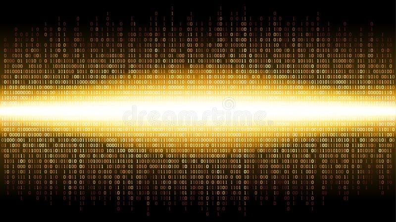 Fundo abstrato binário com esplendor brilhante no espaço digital, nuvem de incandescência de dados grandes, córrego da informação ilustração do vetor