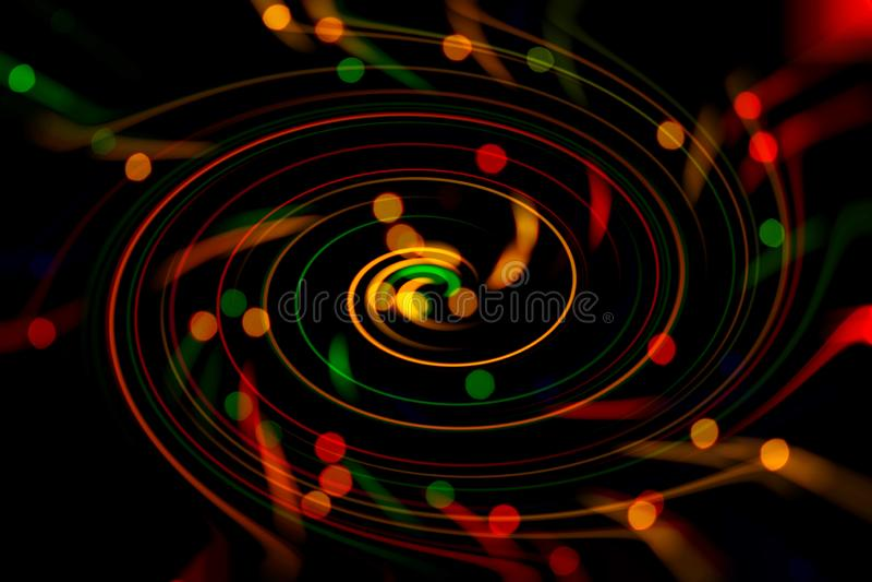 Fundo abstrato borrado Imagem de círculos vermelhos, azuis, verdes e amarelos e de linhas onduladas de tamanhos diferentes imagem de stock