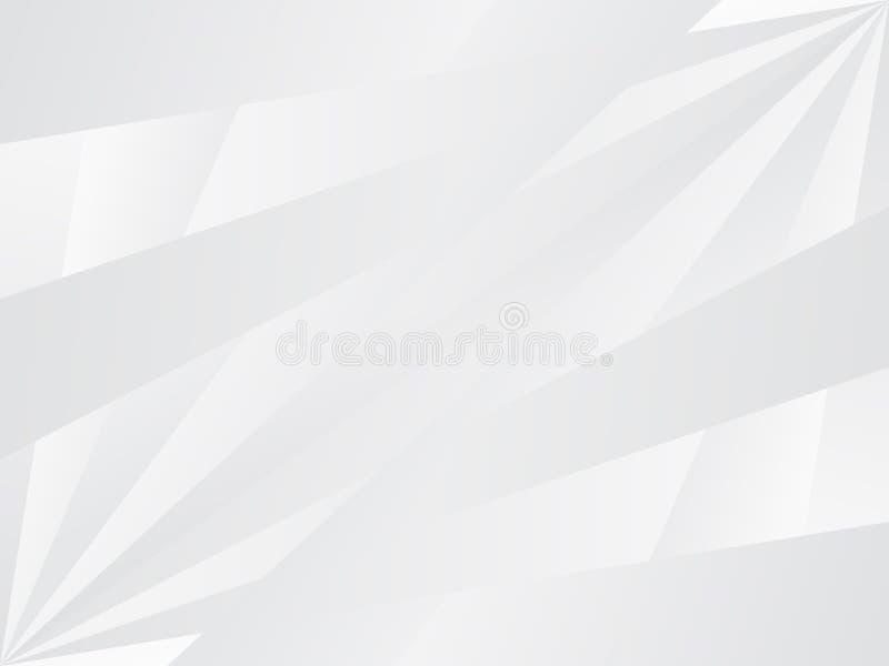 Fundo abstrato branco com os raios cinzentos que irradiam-se do botto esquerdo ilustração royalty free