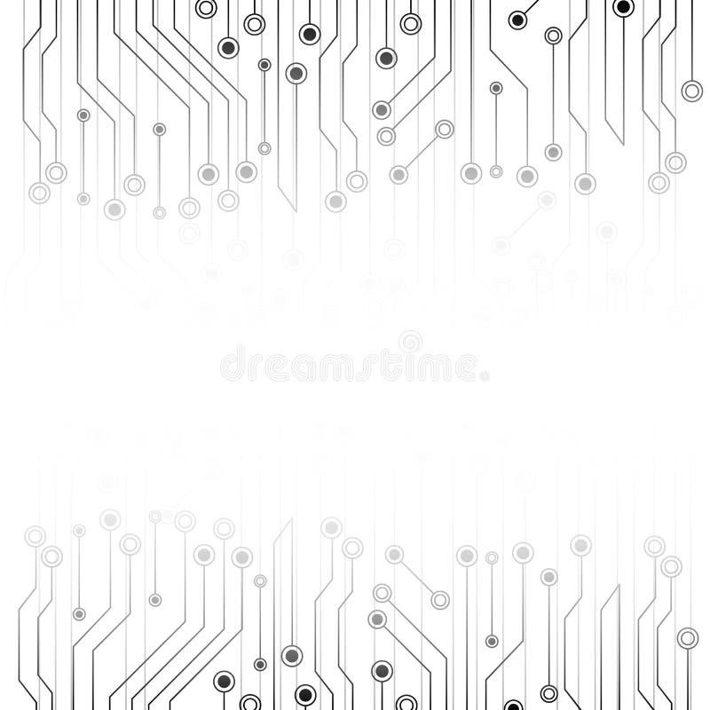 Fundo abstrato branco com placa de circuito da eletrônica Sum?rio cinzento Conceito futurista da tecnologia e da textura Uma comu ilustração do vetor