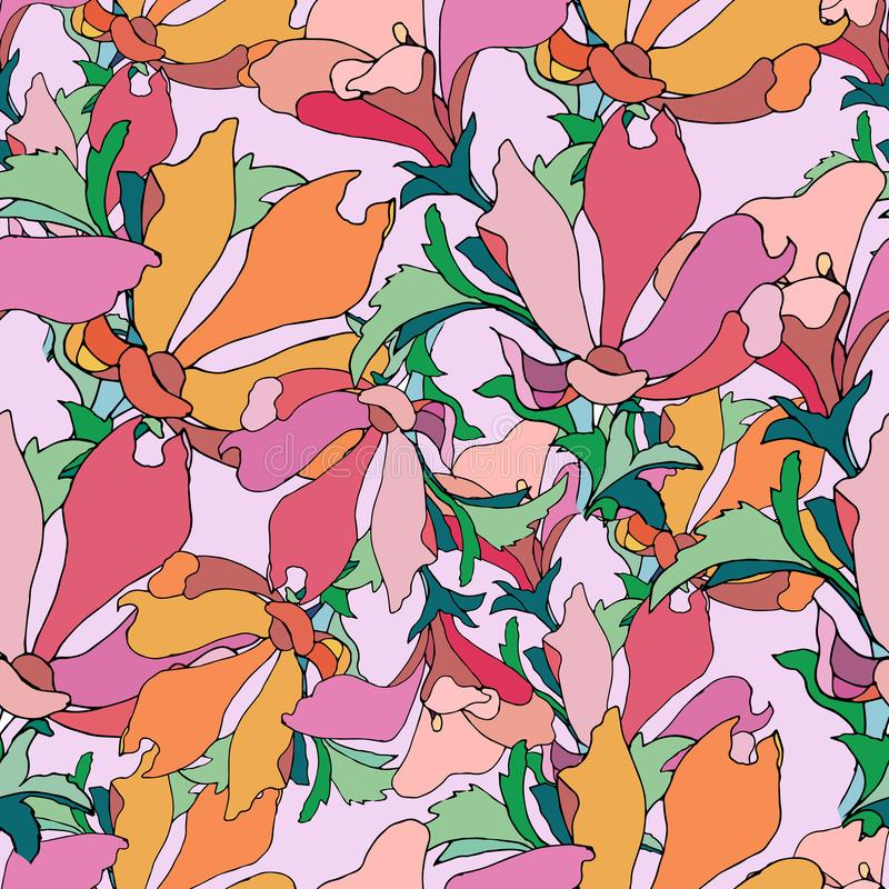 Fundo abstrato brilhante, ornamento oriental Cópia colorida floral Flores desenhados à mão em um fundo vermelho ilustração stock