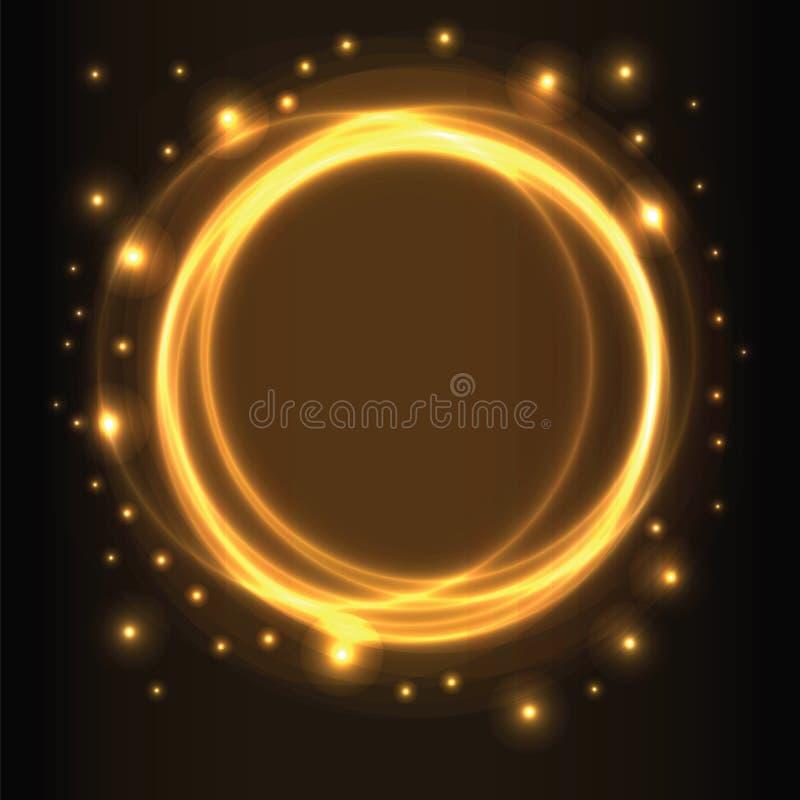 Fundo abstrato, círculos de incandescência amarelos ilustração royalty free