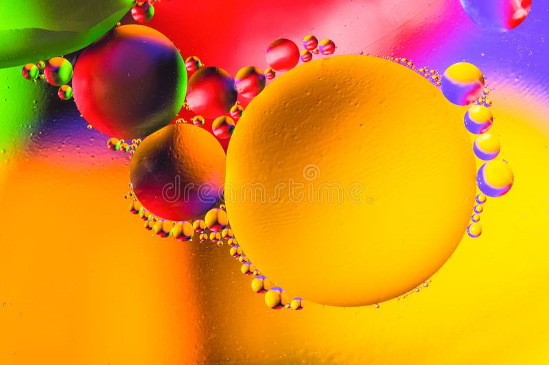 Fundo abstrato cósmico do universo do espaço ou dos planetas Sctructure abstrato do átomo da molécula Bolhas da água Tiro macro d foto de stock royalty free