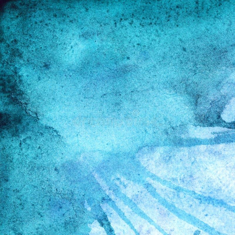 Fundo abstrato ciano da textura de turquesa do inverno da aquarela ilustração royalty free