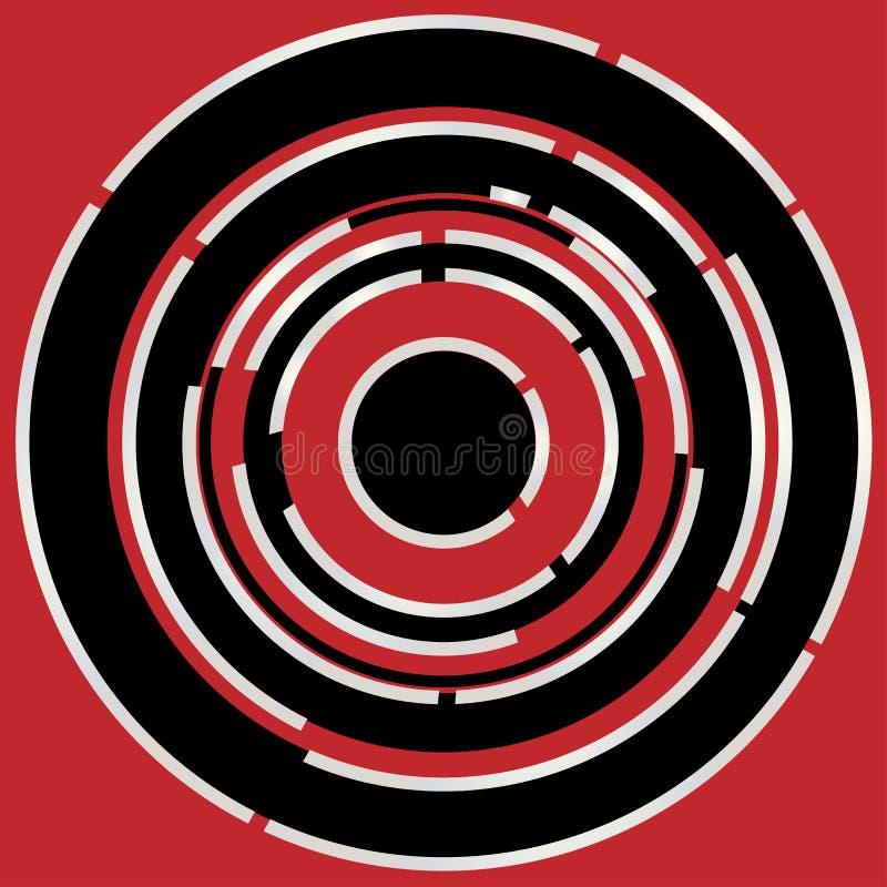 Fundo abstrato circular preto vermelho ilustração do vetor