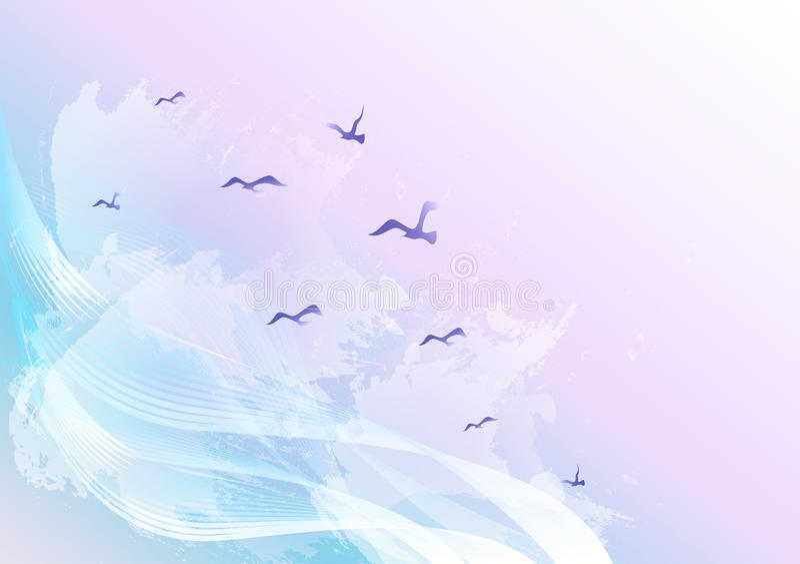 Fundo abstrato claro e brilhante do céu com os pássaros que voam nas nuvens, nas ondas e nos pontos de água ilustração royalty free