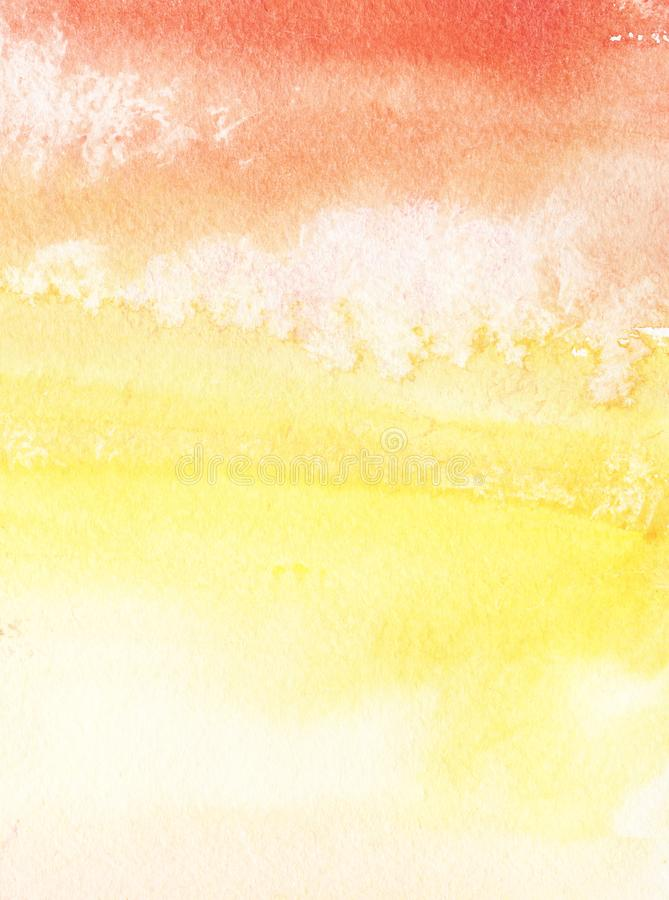 Fundo abstrato colorido Laranja, inclinação amarelo vermelho Céu com nuvens Mão tirada com aquarela em um papel textured ilustração do vetor