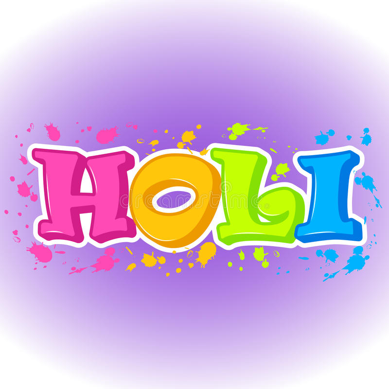 Fundo abstrato colorido para o festival tradicional indiano Cartaz de Holi ou etiqueta ou símbolo feliz no estilo dos desenhos an ilustração stock