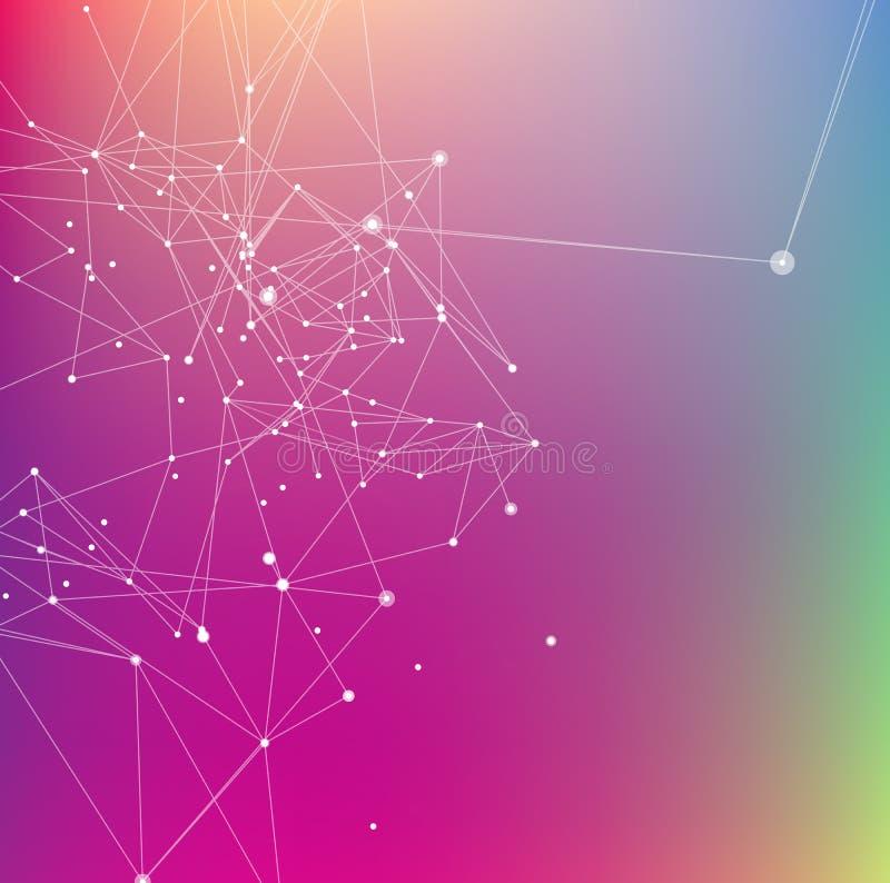 Fundo abstrato colorido Pontos de conexão com linha ilustração do vetor