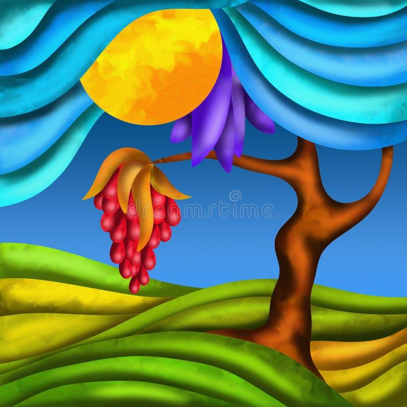 Árvore e fruto ilustração royalty free