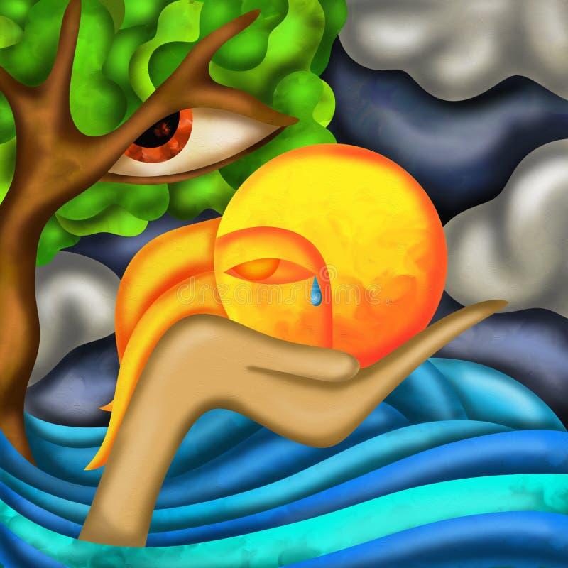 Árvore e sol tristes ilustração stock