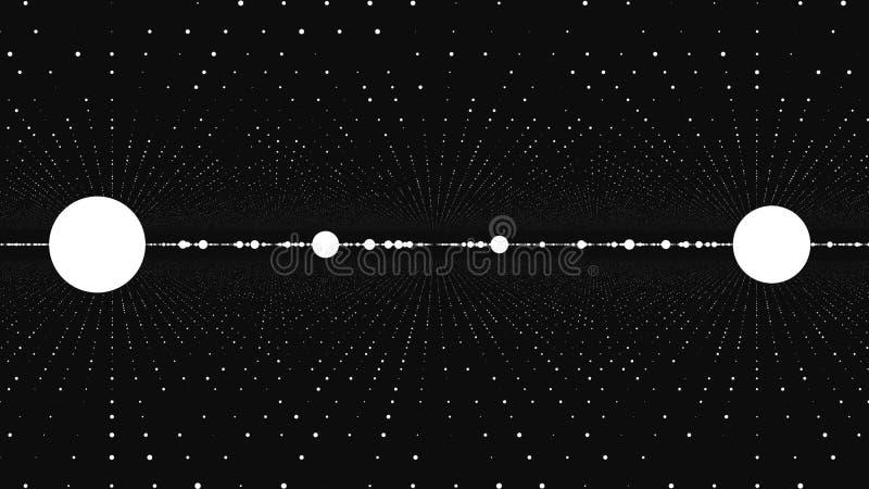 Fundo abstrato com animação de partículas lentas Animação do laço sem emenda Torção do fluxo de Dot Particle e ilustração royalty free