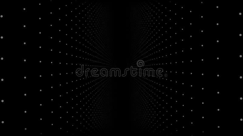 Fundo abstrato com animação de partículas lentas Animação do laço sem emenda Torção do fluxo de Dot Particle e ilustração do vetor