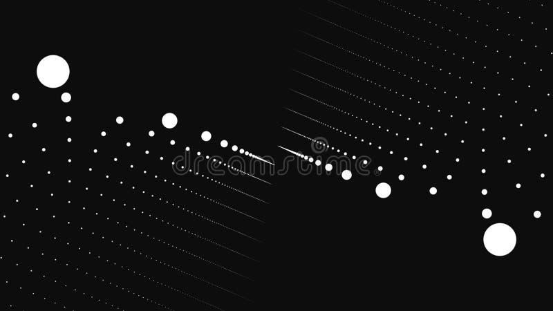 Fundo abstrato com animação de partículas lentas Animação do laço sem emenda Torção do fluxo de Dot Particle e ilustração stock
