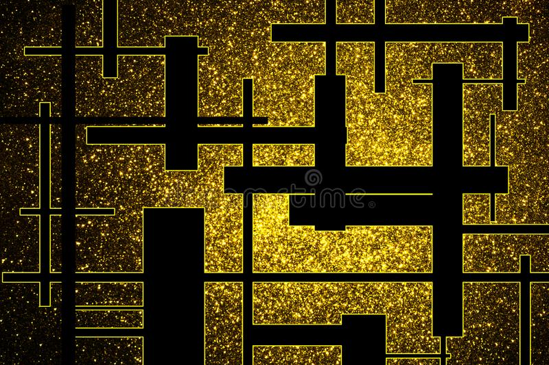 Fundo abstrato com as estrelas brilhantes do ouro e as barras pretas fotografia de stock royalty free