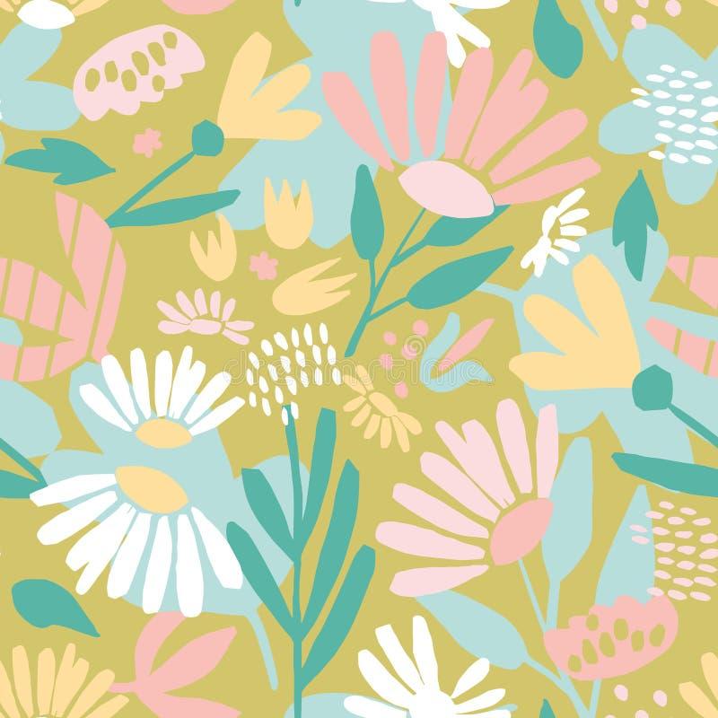 Fundo abstrato com as flores coloridas da escova grosseira ilustração stock