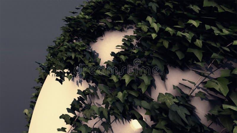 Fundo abstrato com as folhas em uma esfera realística ilustração stock