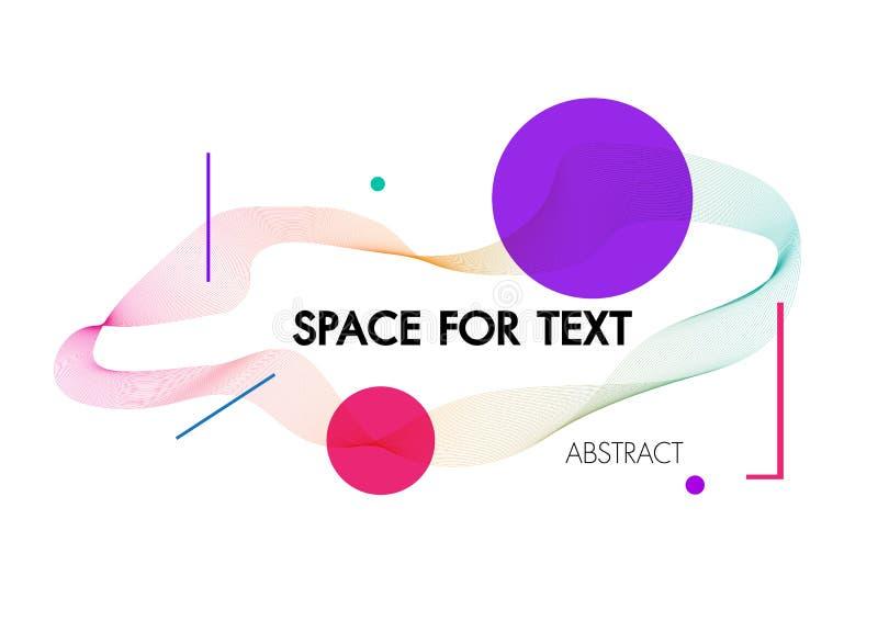 Fundo abstrato com as ondas lineares dinâmicas Para a ilustração colorida do vetor do texto do espaço ilustração stock