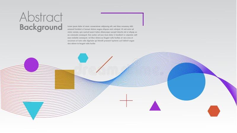 Fundo abstrato com as ondas lineares dinâmicas Para a ilustração colorida do vetor do texto do espaço no espaço minimalistic liso ilustração do vetor